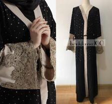Dubai Style Women Crystal Maxi Open Kimono Plain Long Sleeve Lace Abaya Belt