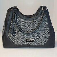London Fog Black Faux Leather & Knit Tweed Medium Satchel Handbag Purse Women