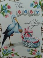 1950s Vtg STORK w LACE Trim BASKET For BABY Congrats Sterling GREETING CARD