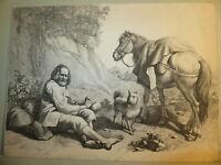 Francesco LONDONIO 1723-1783 GRAVURE XVIII ORIGINALE PAYSAGE CHEVAL ITALIE MILAN