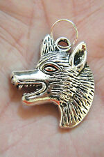 """4 Pieces Gray WOLF Charms Big Wolves  Tibet Silver 1 1/4"""" x 1 1/4"""" Lot of 4 NEW!"""