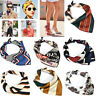Women Girl Square Silk Feel Satin Scarf Skinny Retro Head-Neck Hair Tie Band