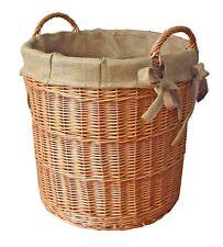 Kaminholzkorb, 2 Griffe, Juteeinlage, rund, Holzkorb, braun, Ø 60cm, Gartenkorb