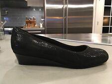 "Women's TROTTERS ""Lauren"" Black Suede Patent Slip On Wedge shoes  size 7.5 WW"