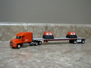 DCP 1/64 Orange Fikes Semi Truck Flatbed Trailer 30335 Damaged
