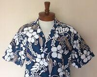KY's Mens XL Blue White Hibiscus Surfboard Print Hawaiian Aloha Shirt
