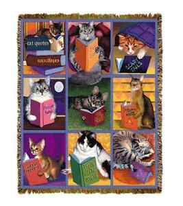 TIGER CAT NAP BOOKS Cats in the Library Reading TAPESTRY THROW AFGHAN BLANKET