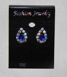 Silver Coloured Clear and Blue Crystal Droplet Stud Earrings