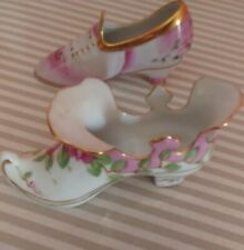 Pretty Elegant 2 Limoges Colorful Collectible Ceramic Victorian Shoes