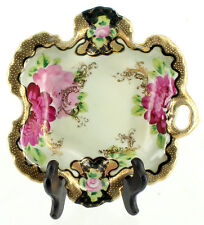 Antique Nippon Moriage Hand Painted Nappy Candy Dish Handle Ruffled Edge