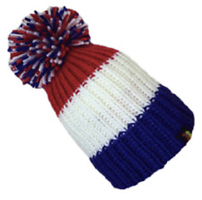 KARMA ACCESSORIES RED WHITE BLUE STRIPES BIG BOBBLE HAT ONE SIZE FITS ALL BH07