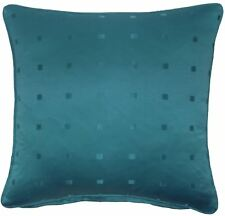 """JACQUARD CHECK TEAL 22"""" 55CM PIPED CUSHION COVER"""