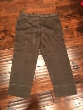 Sonia Rykiel Paris Shimmering Green Cropped Pants, Size 14 (US) 46 (FR)