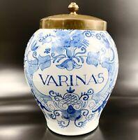 Delft Royal Goedewaagen Tobacco Humidor Varinas Large Jar Blue Floral Vintage
