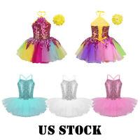 US Kid Girl Jazz Ballet Dance Dress Sequins Leotard Tutu Skirt Dancewear Costume