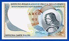 """Italy IPZS Istituto Poligrafico """"Volto Femminile"""" Specimen Test Note Fds / Unc"""
