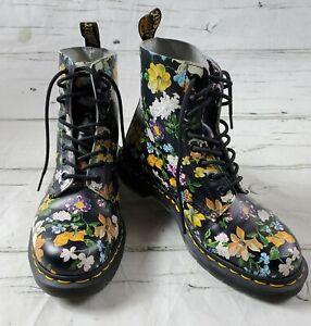 Doc Martens Black Yellow Floral Combat Boots Womens Size 7 EUC