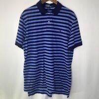 Polo Ralph Lauren Blue Navy Striped Rugby Polo Shirt S/S Color Logo Men's L