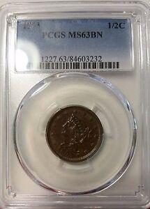 1853 1/2C BN Braided Hair Half Cent PCGS MS63BN