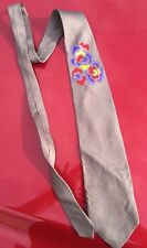 Asiana Airline Airplane Employee Uniform Vintage Neck Tie Necktie Tan Floral Old