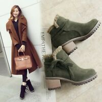 Womens Winter Fur Trim Round Toe Faux Suede Ankle Boots Gothic Block Heels Shoes