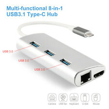 8 in1 USB C 3.1 HUB 4K HDMI Ethernet LAN 3*USB3.0 PD Charging SD/TF Card Reader