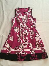 Crown & Ivy XS Small 4 6 8 Petite Pink Black Floral Print Fit & Flare Dress