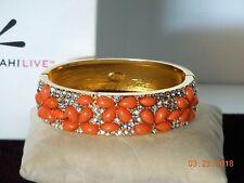 Kenneth Jay Lane Coral Beads/Clear Rhinestone Flower Clasp Summer Bangle NIB