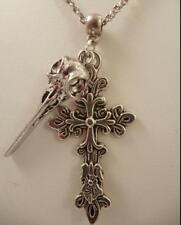 Vintage silver Raven Skull/Filigrane Croix Charms Chaîne Statement Collar Collier
