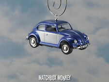 67 Classic Blue Two Tone Volkswagen Beetle Christmas Ornament VW Bug Herbie 1/64