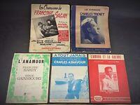 Lot de 5 partitions : Aznavour, Trenet, Hardy & Gainsbourg, Chansons de F. Sagan