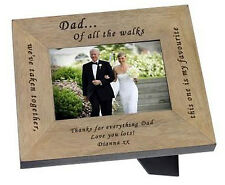 """Father of the Bride Wedding gift 6""""x 4"""" oak photo frame personalised present #10"""