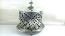 ANTIQUE SILVER PLATED PIERCED CRESTED LARGE BISCUIT BOX BLUE LINER DEO ECCLESI