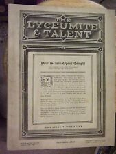 Rare The Lyceumite & Talent Magazine-October 1912 (Early Theater Magazine)