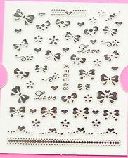 Fiocco Amore Argento 3D Nail Art Sticker Decal Decorazione Manicure