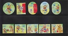 JAPAN 2013 AUTUMN GREETING POSKUMA TEDDY BEAR 80 YEN COMP. SET OF 10 STAMPS USED