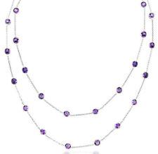 14K Oro Blanco Amatistas por Yardas Piedra Preciosa Collar 91.4cm