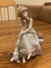 lladro figurines collectibles Girl W/dog, Telephone