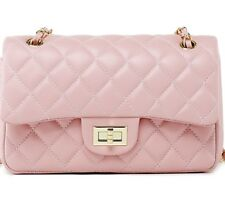 (USA) Lambskin Handbag Quilted Sheepskin Leather GoldStrap Double Flap Bag pink