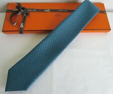 New Hermès Mens Aqua Blue Silk Twill Tie Mustang Design 605723HA 05