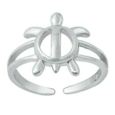Turtle Toe Ring Genuine Sterling Silver 925 High Polish Face Height 11 mm