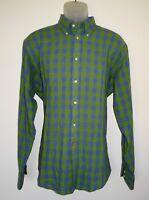 Thomas Dean Long Sleeve Shirt Green Blue Gingham Check Linen Cotton Large NWT
