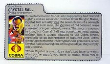VINTAGE CRYSTAL BALL FILE CARD G.I. Joe Action Figure GREAT SHAPE 1987
