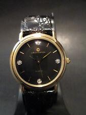 B29 NEW JB CHAMPION Gold Dress Black Leather Band WATCH VINTAGE Diamond Quartz