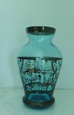 Antique Murano Venetian Glass Vase Kingfisher Blue Silver Decoration Gondala