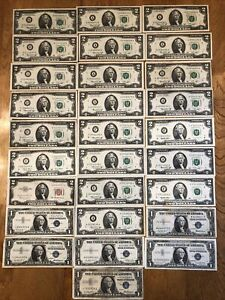 Lot $50 Face Old $1 $2 US Bank Notes Currency Silver Certificate Star 28 Total