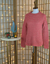 Anthropologie Small Waffle Knit Sweater Coral Pink Pullover Wool Field Flower