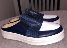 "ASKA  ""Stella"" Blue & White Leather Slip-On Mule Sz 37 US 7.5 New"