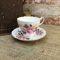 VINTAGE REGENCY TEA CUP AND SAUCER  LARGE FLORAL BOUQUET ENGLISH BONE CHINA