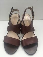 "Franco Sarto Brown Strappy Leather 3.5"" Block Heel Sandals Women's Size 7.5 M"